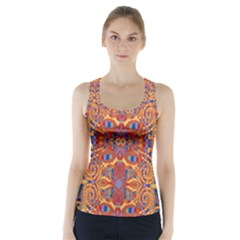Oriental Watercolor Ornaments Kaleidoscope Mosaic Racer Back Sports Top