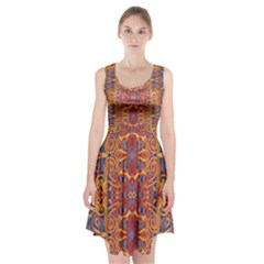 Oriental Watercolor Ornaments Kaleidoscope Mosaic Racerback Midi Dress