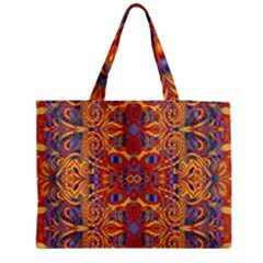 Oriental Watercolor Ornaments Kaleidoscope Mosaic Medium Zipper Tote Bag