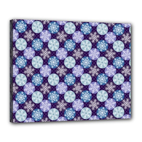 Snowflakes Pattern Canvas 20  X 16  by DanaeStudio