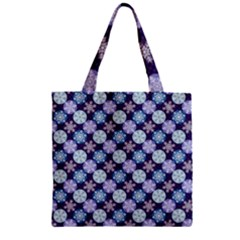 Snowflakes Pattern Zipper Grocery Tote Bag by DanaeStudio