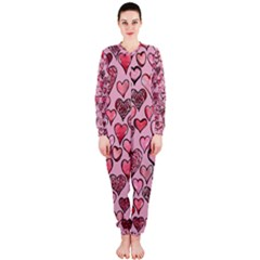Artistic Valentine Hearts Onepiece Jumpsuit (ladies)  by BubbSnugg