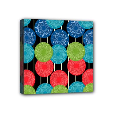 Vibrant Retro Pattern Mini Canvas 4  x 4