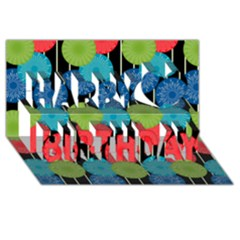Vibrant Retro Pattern Happy Birthday 3D Greeting Card (8x4)