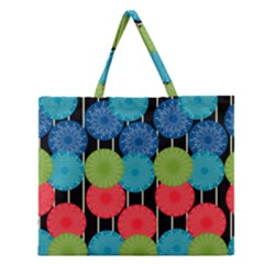 Vibrant Retro Pattern Zipper Large Tote Bag
