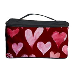 Watercolor Valentine s Day Hearts Cosmetic Storage Case by BubbSnugg