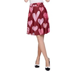 Watercolor Valentine s Day Hearts A Line Skirt by BubbSnugg