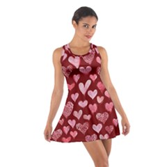 Watercolor Valentine s Day Hearts Cotton Racerback Dress by BubbSnugg