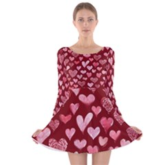 Watercolor Valentine s Day Hearts Long Sleeve Velvet Skater Dress by BubbSnugg