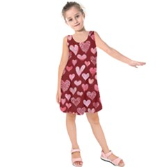 Watercolor Valentine s Day Hearts Kids  Sleeveless Dress by BubbSnugg