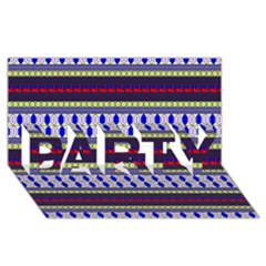 Colorful Retro Geometric Pattern Party 3d Greeting Card (8x4) by DanaeStudio
