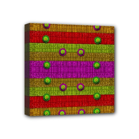 A Wonderful Rainbow And Stars Mini Canvas 4  X 4  by pepitasart