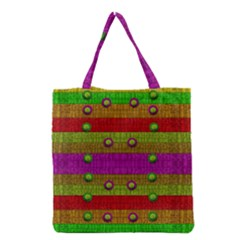 A Wonderful Rainbow And Stars Grocery Tote Bag by pepitasart