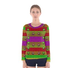 A Wonderful Rainbow And Stars Women s Long Sleeve Tee by pepitasart