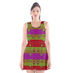 A Wonderful Rainbow And Stars Scoop Neck Skater Dress by pepitasart