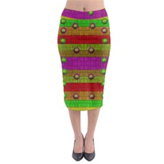 A Wonderful Rainbow And Stars Midi Pencil Skirt by pepitasart