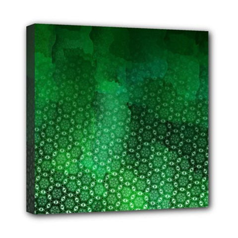 Ombre Green Abstract Forest Mini Canvas 8  X 8  by DanaeStudio