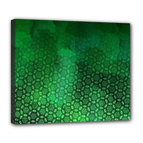 Ombre Green Abstract Forest Deluxe Canvas 24  X 20   by DanaeStudio