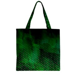 Ombre Green Abstract Forest Zipper Grocery Tote Bag by DanaeStudio