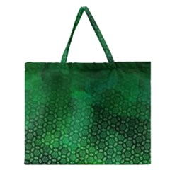 Ombre Green Abstract Forest Zipper Large Tote Bag by DanaeStudio
