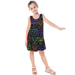 Retro Rainbow Cats  Kids  Sleeveless Dress by BubbSnugg