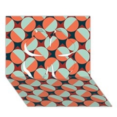 Modernist Geometric Tiles Clover 3d Greeting Card (7x5) by DanaeStudio