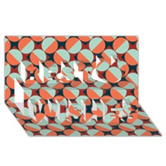 Modernist Geometric Tiles Best Wish 3d Greeting Card (8x4) by DanaeStudio