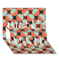 Modernist Geometric Tiles Miss You 3D Greeting Card (7x5)