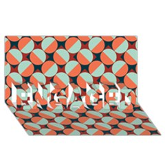 Modernist Geometric Tiles ENGAGED 3D Greeting Card (8x4)