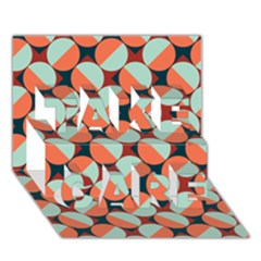 Modernist Geometric Tiles TAKE CARE 3D Greeting Card (7x5)