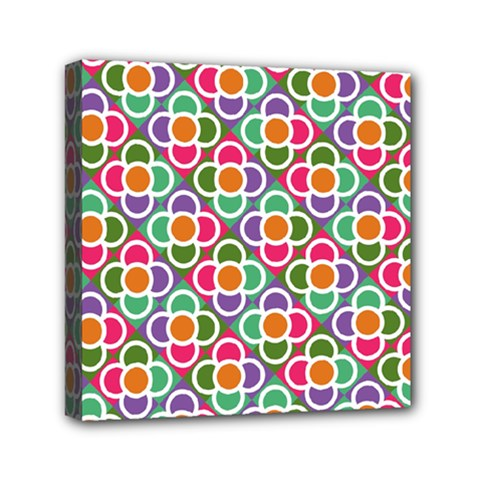 Modernist Floral Tiles Mini Canvas 6  x 6