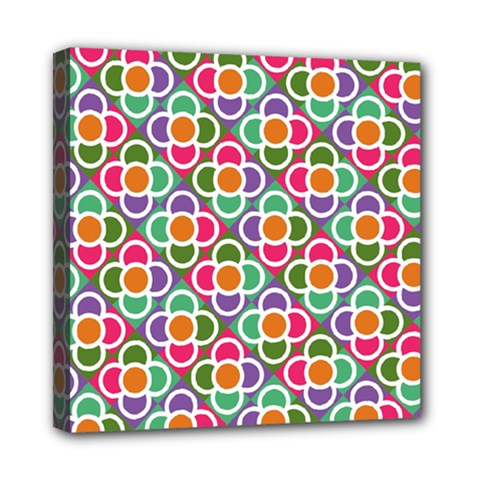 Modernist Floral Tiles Mini Canvas 8  x 8