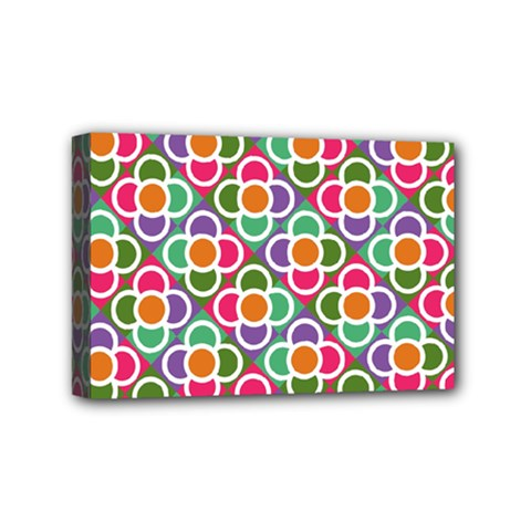 Modernist Floral Tiles Mini Canvas 6  X 4  by DanaeStudio