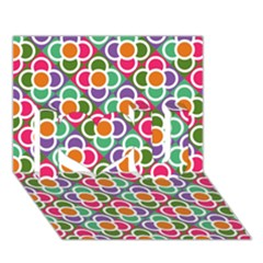 Modernist Floral Tiles I Love You 3d Greeting Card (7x5) by DanaeStudio