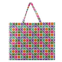 Modernist Floral Tiles Zipper Large Tote Bag