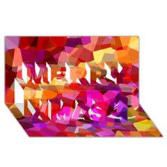 Geometric Fall Pattern Merry Xmas 3d Greeting Card (8x4) by DanaeStudio