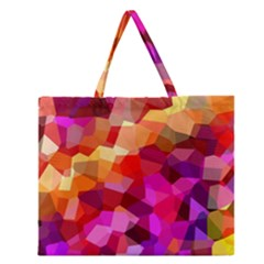 Geometric Fall Pattern Zipper Large Tote Bag by DanaeStudio