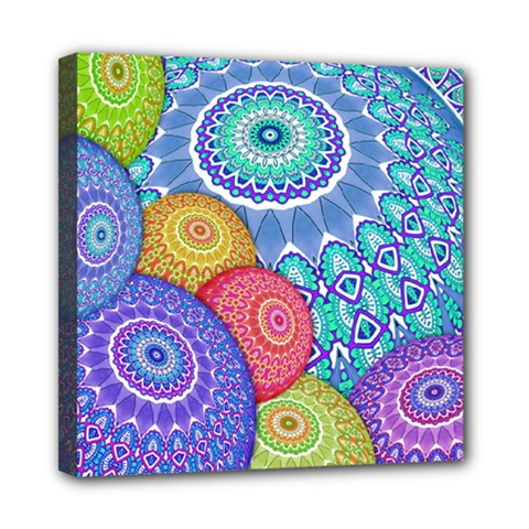 India Ornaments Mandala Balls Multicolored Mini Canvas 8  X 8  by EDDArt