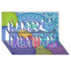 India Ornaments Mandala Balls Multicolored Happy Birthday 3d Greeting Card (8x4) by EDDArt