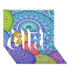 India Ornaments Mandala Balls Multicolored Girl 3d Greeting Card (7x5) by EDDArt
