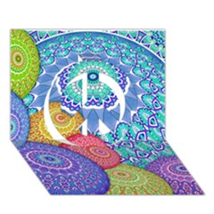 India Ornaments Mandala Balls Multicolored Peace Sign 3d Greeting Card (7x5) by EDDArt