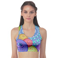 India Ornaments Mandala Balls Multicolored Sports Bra by EDDArt