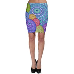 India Ornaments Mandala Balls Multicolored Bodycon Skirt by EDDArt
