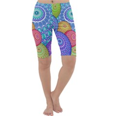 India Ornaments Mandala Balls Multicolored Cropped Leggings  by EDDArt