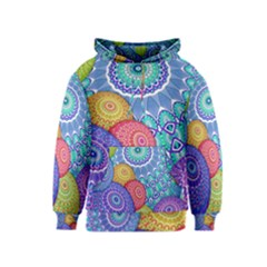 India Ornaments Mandala Balls Multicolored Kids  Pullover Hoodie by EDDArt