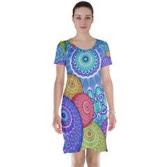 India Ornaments Mandala Balls Multicolored Short Sleeve Nightdress by EDDArt
