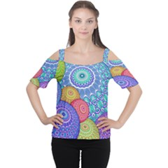 India Ornaments Mandala Balls Multicolored Women s Cutout Shoulder Tee by EDDArt