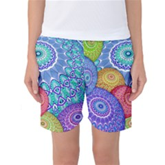 India Ornaments Mandala Balls Multicolored Women s Basketball Shorts by EDDArt