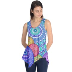 India Ornaments Mandala Balls Multicolored Sleeveless Tunic by EDDArt
