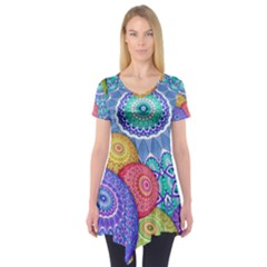 India Ornaments Mandala Balls Multicolored Short Sleeve Tunic  by EDDArt